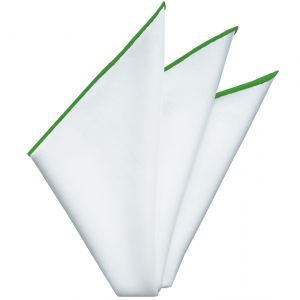 Bright White Oxford Cotton with Lime Contrast Edges Pocket Square #RCP-13