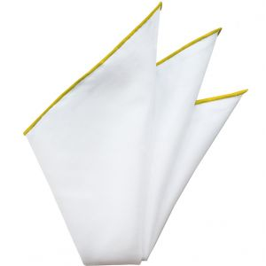 Natural White Linen/Cotton with Yellow Contrast Edges Pocket Square #LCCP-16