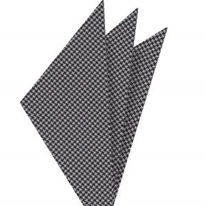 Black & White Hounds Tooth Silk Pocket Square #2