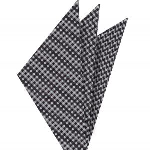 Black & White Hounds Tooth Silk Pocket Square #3