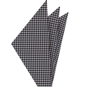 Black & White Hounds Tooth Silk Pocket Square #4