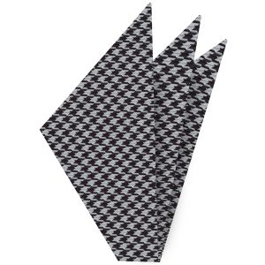 Black & White Hounds Tooth Silk Pocket Square #5