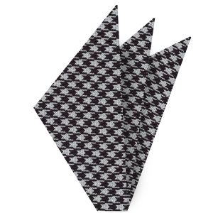 Black & White Hounds Tooth Silk Pocket Square #6
