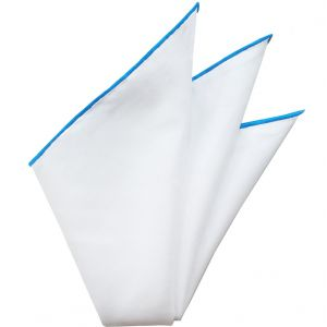 Natural White Linen/Cotton with Contrast Edges Pocket Square #LCCP-8