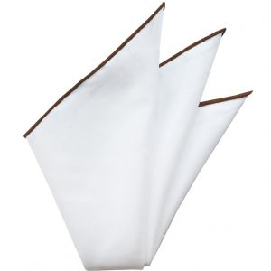 Natural White Linen/Cotton with Brown Contrast Edges Pocket Square #LCCP-9
