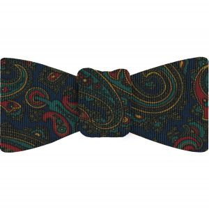 Turquoise, Olive Green & Red on Navy Blue Macclesfield Madder Printed Silk Bow Tie #MBT-19