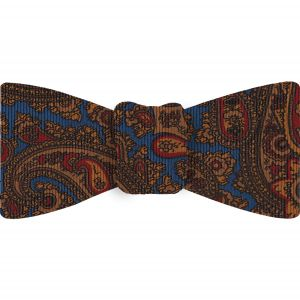 Burnt Orange, Red & Dark Chocolate on Blue Macclesfield Madder Printed Silk Bow Tie #MBT-20