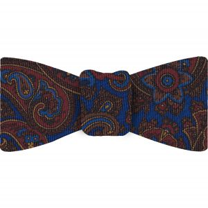 Red, Chocolate & Gold on Medium Blue Macclesfield Madder Printed Silk Bow Tie #MBT-21