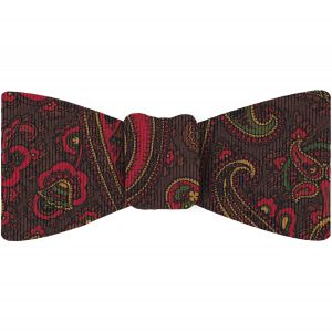 Red, Green & Gold on Bitter Chocolate Macclesfield Madder Printed Silk Bow Tie #MBT-22
