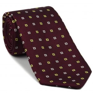 Light Yellow & White on Maroon English Geometric Silk Tie #EGT-13