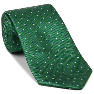 Blue, White on Black & Green English Geometric Silk Tie #EGT-2