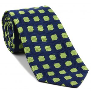 Lime Green on Navy Blue English Geometric Silk Tie #EGT-23