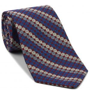 Blue, Sky Blue & White on Red English Geometric Silk Tie #EGT-25