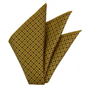 Forest Green, Royal Blue, Sky Blue & White on Yellow Gold Macclesfield Print Silk Pocket Square #MCP-330
