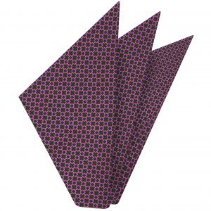 Royal Blue & Pink on Forest Green Macclesfield Print Silk Pocket Square #MCP-338