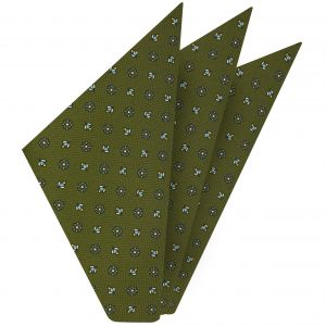 Sky Blue, Yellow Gold & Off-White on Olive Green Macclesfield Print Pattern Silk Pocket Square #MCP-362