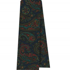 Turquoise, Olive Green & Red on Navy Blue Macclesfield Madder Printed Silk Scarf #MS-19