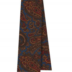 Burnt Orange, Red & Dark Chocolate on Blue Macclesfield Madder Printed Silk Scarf #MS-20