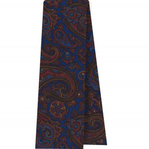 Red, Chocolate & Gold on Medium Blue Macclesfield Madder Printed Silk Scarf #MS-21