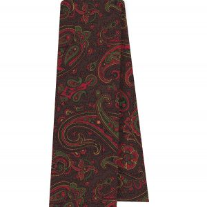 Red, Green & Gold on Bitter Chocolate Macclesfield Madder Printed Silk Scarf #MS-22