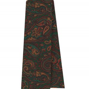 Turquoise, Brown & Mandarin on Forest Green Macclesfield Madder Printed Silk Scarf #MS-23
