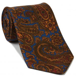 Burnt Orange, Red & Dark Chocolate on Blue Macclesfield Madder Printed Silk Tie #MT-20