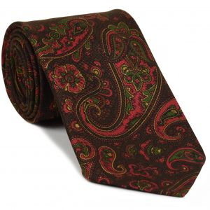 Red, Green & Gold on Bitter Chocolate Macclesfield Madder Printed Silk Tie #MT-22