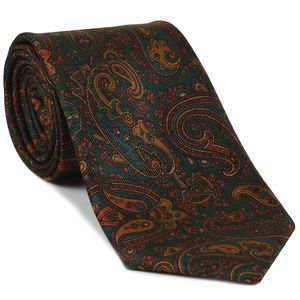 Turquoise, Brown & Mandarin on Forest Green Macclesfield Madder Printed Silk Tie #MT-23