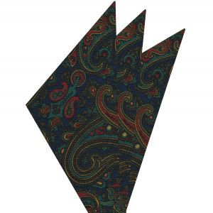 Turquoise, Olive Green & Red on Navy Blue Macclesfield Madder Printed Silk Pocket Square #MP-19