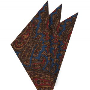 Burnt Orange, Red & Dark Chocolate on Blue Macclesfield Madder Printed Silk Pocket Square #MP-20