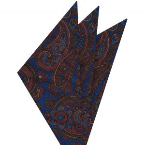 Red, Chocolate & Gold on Medium Blue Macclesfield Madder Printed Silk Pocket Square #MP-21