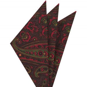 Red, Green & Gold on Bitter Chocolate Macclesfield Madder Printed Silk Pocket Square #MP-22