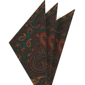 Turquoise, Brown & Mandarin on Forest Green Macclesfield Madder Printed Silk Pocket Square #MP-23