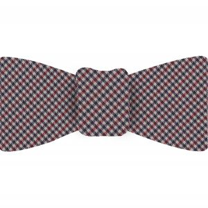 Dark Red, Navy Blue & White Shepherd's Check Silk Bow Tie #SCHBT-2