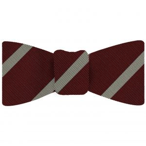 Off-White on Dark Red Mogador Striped Bow Tie #MGSBT-1