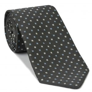 Sky Blue & White on Charcoal Gray  Mogador Pattern Silk Tie #1