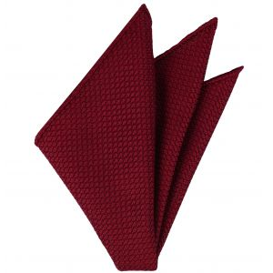 Red Grenadine Grossa  Silk Pocket Square #1