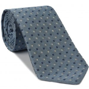 Navy Blue & White on Sky Blue Mogador Pattern Silk Tie #2