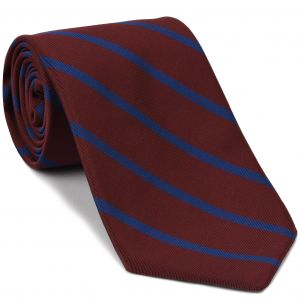Blue on Dark Red Mogador Striped Tie #MGST-3