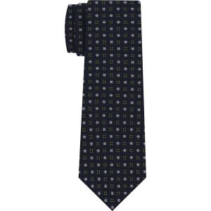 White & Green on Midnight Blue Macclesfield Print Pattern Silk Tie #MCT-435
