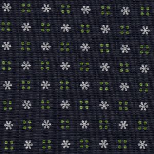 White & Green on Midnight Blue Macclesfield Print Pattern Silk
