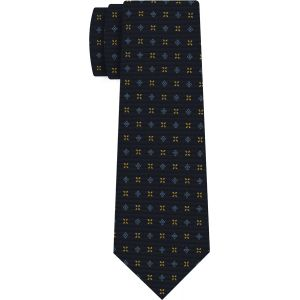 Sky Blue & Yellow Gold on Midnight Blue Macclesfield Print Pattern Silk Tie #MCT-436