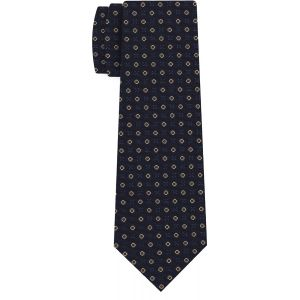 Sky Blue, Red & Off-White on Midnight Blue Macclesfield Print Pattern Silk Tie #MCT-437