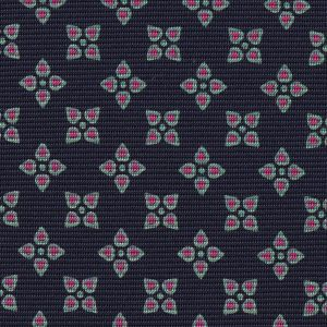 Pink & Light Green on Midnight Blue Macclesfield Print Pattern Silk