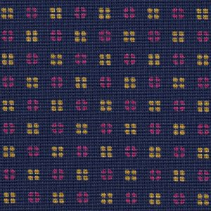 Yellow Gold & Pink on Dark Navy Blue Macclesfield Print Pattern Silk