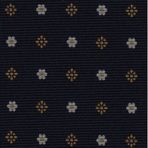 Yellow Gold & White on Midnight Blue Macclesfield Print Pattern Silk