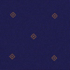 Brown on Blue Macclesfield Print Pattern Silk