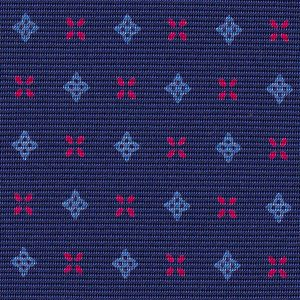 Powder Blue & Fuchsia on Navy Blue Macclesfield Print Pattern Silk