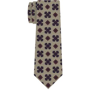 Dark Red & Dark Navy Blue on Dark Cream Macclesfield Print Pattern Silk Tie #MCT-451