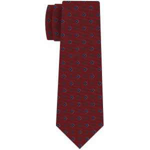 Navy Blue, White & Sage on Dark Red  Macclesfield Print Pattern Silk Tie #MCT-453